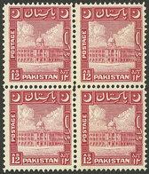 PAKISTAN: Sc.54, 1949/53 12a. Red, MNH Block Of 4, VF Quality, Catalog Value US$110. - Pakistan