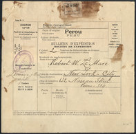 PERU: Despatch Note Sent From Lima To New York (circa 1926), With Fantastic Postage Of 4S. (Sc.216 X20), VF Quality, Rar - Peru
