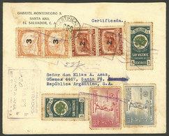 EL SALVADOR: 25/FE/1935 Santa Ana - Argentina, Registered Cover With Multicolor Franking Of 29c., With Arrival Backstamp - El Salvador