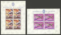 SAN MARINO: Sc.C127/C128, 1963/5 Airplanes, 2 Souvenir Sheets With 4 Values, MNH, VF Qulaity! - Saint-Marin