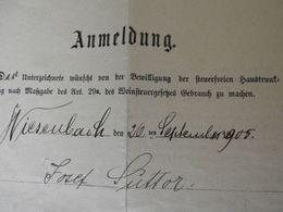 Anmeldung Zur Herstellung Von Wein 1905 - Announcements