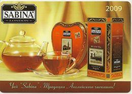 Pocket Calendar 2009 - Russia - Tea - Advertising  - Sabina - London - Rarity- Beautiful. - Calendars