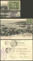 TURKEY: Postcard Franked With 10pa. Sent From Halki To Brazil On 1/MAR/1907, Minor Defects, Very Nice, Rare Destination! - 1858-1921 Empire Ottoman