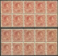 VENEZUELA: Sc.123, 1893 5c. Bolivar, 2 Blocks Of 10, VERY DIFFERENT SHADES, MNH, Excellent Quality! - Venezuela