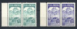 "VENEZUELA: Yvert 64A/65A, 1936 ""Nacionalización"", Compl. Set Of 2 Unissued Values, Mint Never Mint Pairs, Superb, Very R - Venezuela"