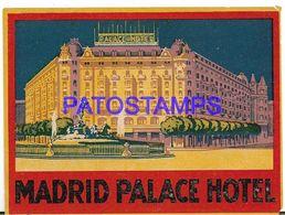 136791 SPAIN ESPAÑA MADRID PUBLICITY PALACE HOTEL LUGGAGE NO POSTAL POSTCARD - Etiquettes D'hotels