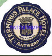 136792 BELGIUM ANTWERP PUBLICITY TERMINUS PALACE HOTEL LUGGAGE NO POSTAL POSTCARD - Etiquettes D'hotels