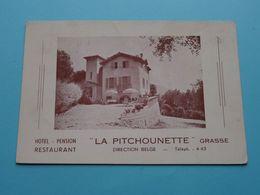 """ LA PITCHOUNETTE "" Grasse  Hotel Pension Restaurant Tél 4-43 ( Dir. Belge ) Anno 1951 > Mortsel ( See Photo ) ! - Grasse"
