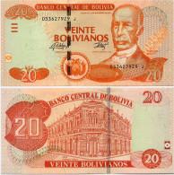 BOLIVIA       20 Bolivianos       P-244       L. 28.11.1986 (2015)       UNC  [Series J - Oberthur] - Bolivia