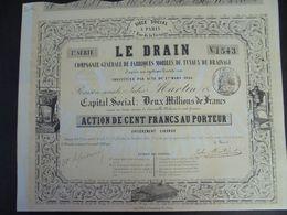 FRANCE - RARE - PARIS 1856 - LE DRAIN, FABRIQUE TUYAUX DE DRAINAGE, JULES MARTIN : ACTION 100 FRS - Actions & Titres