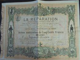 FRANCE - RARE - PARIS 1882 - LA REPARATION, CIE D'ASSURANCES, AVEC SCENES DE POMPIERS : ACTION DE 500 FRS - Actions & Titres