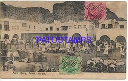 136795 AFRICA ADEN YEMEN CAMP CAMEL MARKET CIRCULATED TO PORT SAID POSTAL POSTCARD - Non Classés
