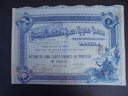 ALGERIE - MINES D'ALGERIE-TUNISIE, FER,ZINC,PHOSPHATE... ACTION DE 500 FRS - PEU COURANT, MAIS ETAT TRES MOYEN - Actions & Titres