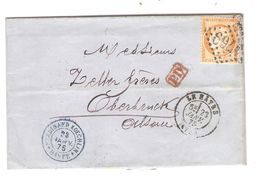 REF1411/ TP 38 S/LAC Ferdinand Koechlin C.Le Hâvre 23/1/1875 + PTS 1769 C.PD > Oberbruck Alsace Verso Divers Cachets - Postmark Collection (Covers)