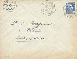 INDRE ET LOIRE 37  -  VILLEBOURG    -   CACHET AGENCE POSTALE  F7  -  1952  - BELLE FRAPPE - Manual Postmarks