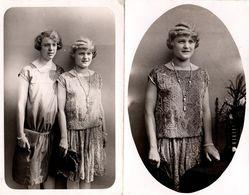 2 Cartes Photos Originales Portrait De Jeunes Femmes Vers 1920/30 - Médaillon & Classique - Pin-up