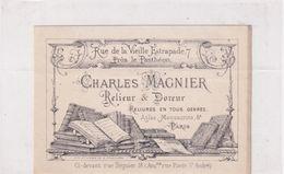 PARIS 5 -  Panthéon -  Relieur & Doreur - Charles Magnier Rue De La Vieille Estrapade Dimension 11cm X 7cm TBE Rare - Cartes De Visite