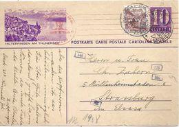 """Zensur PK 139y  """"Hilterfingen Am Thunersee""""  Küsnacht - Strassburg           1941 - Entiers Postaux"""