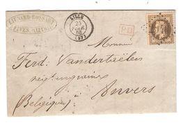 REF1412/ TP 30 S/LAC écrit De Fives Liénard-Bossart C.Lille 25/2/1868 + PTS 2046 > Anvers Belgique Négociant Grains - Postmark Collection (Covers)