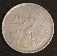 LESOTHO - 25 LISENTE 1979 - KM 20 - Moshoeshoe II - Lesotho