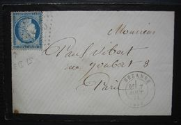 Sézanne 1874 (Marne) GC 3403, Lettre Pour Paris - Postmark Collection (Covers)