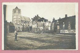 62 - HENIN BEAUMONT - Carte Photo Allemande - Eglise - Soldat Allemand - Zerschossene Stadt - Guerre 14/18 - Henin-Beaumont