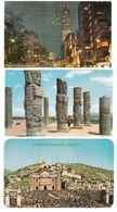 Mexico - 3 Old Cards - Avenida Juarez - Colosos De Tula - Basilica De Guadelupe - Stamp`s Timbre - Mexique