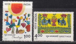 India MNH 1990, Set Of 2, Greetings, Celebration, Elephant, Cactus, Etc., - Inde