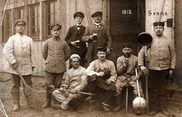 Carte Photo Originale Guerre 1914/18 Soldats Allemands Poilus à Senne (Rhénanie-du-Nord-Westphalie) Cuisiniers En 1915 - Guerra, Militari