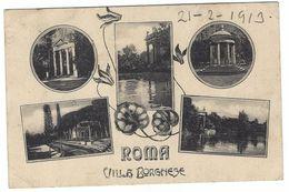 CLA260 - ROMA VILLA BORGHESE 5 VEDUTE 1913 - Parks & Gardens