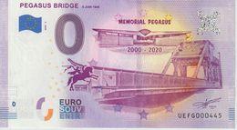 Billet Touristique 0 Euro Souvenir France 14 Pegasus Bridge 2020-2 N°UEFG000445 - Essais Privés / Non-officiels