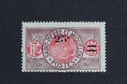 1924,ST-PIERRE-ET-MIQUELON Y&T NO 118 25C SUR 15C PÊCHEUR  VIOLET-BRUN ET ROSE NEUF MH ** - St.Pedro Y Miquelon