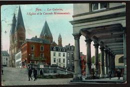 Spa - Les Galeries, L'Eglise Et La Cascade Monumentale - Circulée - 2 Scans - Spa