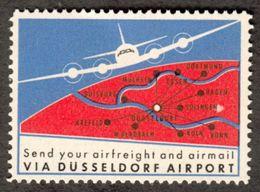 """Düsseldorf 1956 """" Via Dusseldorf Airport Send Freight & Airmail """" Vignette Cinderella Reklamemarke - Cinderellas"""