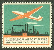 """Düsseldorf 1958 """" D. Airport Serves Rhein-Ruhr Industrial Aerea """" Vignette Cinderella Reklamemarke - Cinderellas"""