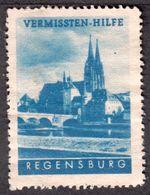 """Regensburg Bayern 1948 """" Vermissten-Hilfe """" Vignette Cinderella Reklamemarke - Erinnophilie"""