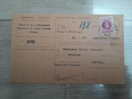 Timbre Belgique 30c Lilas Rose Type Houyoux Albert Ier Sur Carte Récépissé, Oblitération Deynze, Taxes Fiscales - 1922-1927 Houyoux