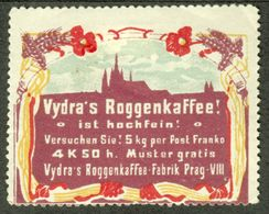 "PRAG Praha Czechoslovakia Bohemia 1913 Art Nouveau "" VYDRA Roggenkaffee "" Vignette Cinderella Reklamemarke - Cinderellas"