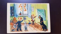 "OLD USSR Postcard - ""Pif""   By Suteev - Old Russian PC - TEDDY BEAR - Cat - School - Teckel Dog - Jeux Et Jouets"