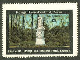 """Chemnitz 1913 """" Kluge&Co Strumpf- U.Handschuhfabrik Bild Berlin Königin Luise """" Vignette Cinderella Reklamemarke - Cinderellas"""