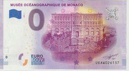 Billet Touristique 0 Euro Souvenir Monaco Musée Océanographique 2020-1 N°UEAW026137 - Private Proofs / Unofficial