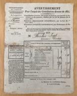 AVERTISSEMENT POUR L'ACQUIT DES CONTRIBUTIONS DIRECTES DE 1834 - Décrets & Lois