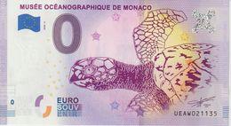 Billet Touristique 0 Euro Souvenir Monaco Musée Océanographique 2020-3 N°UEAW021135 - Private Proofs / Unofficial