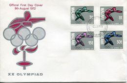 Malawi Mi# 186-9 Used On FDC - Olympic Games Munich 72 - Malawi (1964-...)