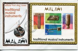Malawi Mi# Block 32 Used On FDC - Traditional Music Instruments - Malawi (1964-...)