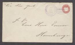 123gone. SALVADOR, EL. 1896 (18 Sept). Acajutla - Germany (11 Oct). 15c Red Stat Env. Fine Used. Via NY (1 Oct). - El Salvador