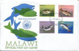 Malawi Mi# 212-5 Used On FDC - Fauna Fish - Malawi (1964-...)