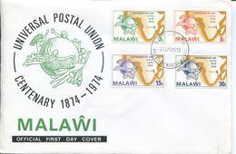 Malawi Mi# 216-9 Used On FDC - UPU 1974 - Malawi (1964-...)