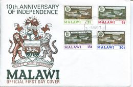 Malawi Mi# 220-3 Used On FDC - 10th Independence - Malawi (1964-...)