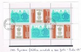 "BULGARIA - MI 3728AKB   - 1989 ""INDIA '89"", INT. STAMP EXN.     (M/S)  -   USED° - RIF.  CP - Blocks & Kleinbögen"